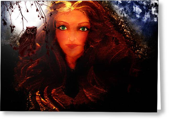 Wise Woman Greeting Cards - She Watches Greeting Card by Patricia Motley