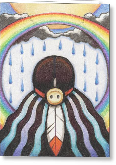 Native American Drawings Greeting Cards - She Who Brings The Rain Greeting Card by Amy S Turner
