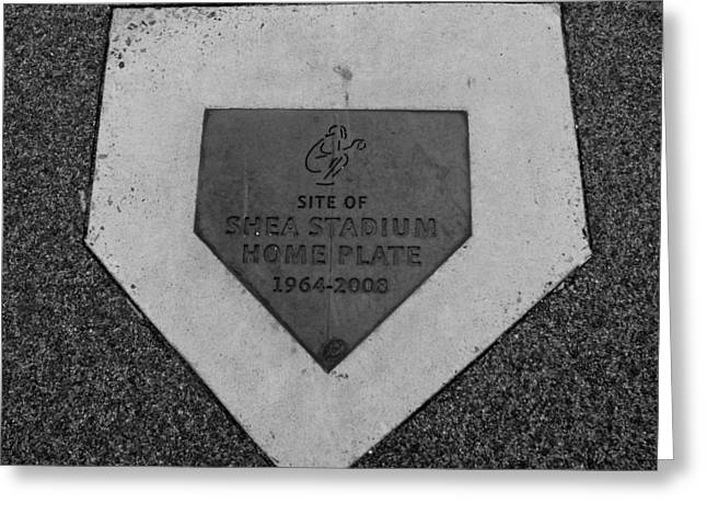 SHEA STADIUM HOME PLATE in BLACK AND WHITE Greeting Card by ROB HANS