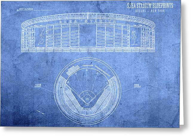 Shea Stadium New York Mets Baseball Field Blueprints Greeting Card by Design Turnpike