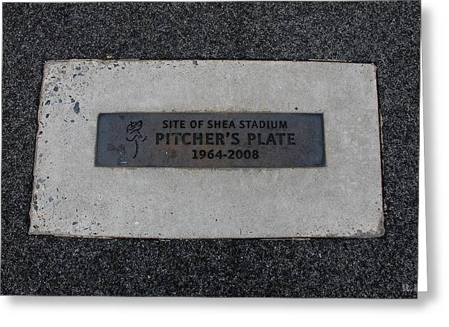 SHEA STADIUM PITCHERS MOUND Greeting Card by ROB HANS