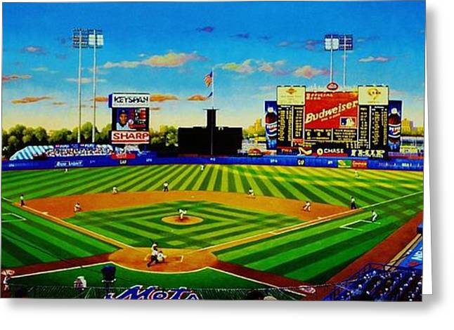 Shea Stadium Greeting Cards - Shea Stadium Greeting Card by T Kolendera