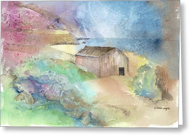 Shed By A Lake In Ireland Greeting Card by Arline Wagner