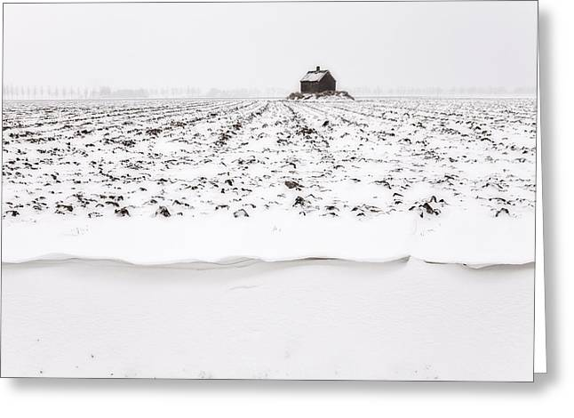 Shed Greeting Cards - Shed On Mount In Snow, Polder The Biesbosch, Dordrecht, The Netherlands Greeting Card by Frank Peters