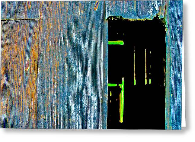 Sheds Greeting Cards - Shed Wall Hole Greeting Card by Scott L Holtslander