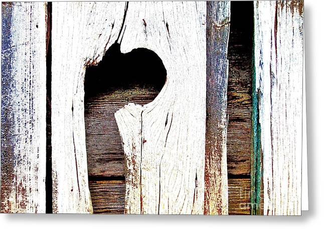 Sheds Greeting Cards - Shed Wall Knot Hole Greeting Card by Scott L Holtslander