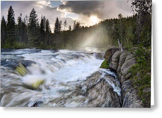 Sheep Falls Falls River Greeting Card by Leland D Howard