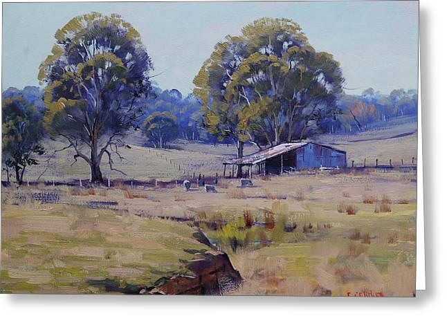 Sheep Farm Landscape Greeting Card by Graham Gercken
