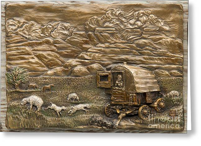 Dog Reliefs Greeting Cards - Sheep Herders Wagon Greeting Card by Dawn Senior-Trask
