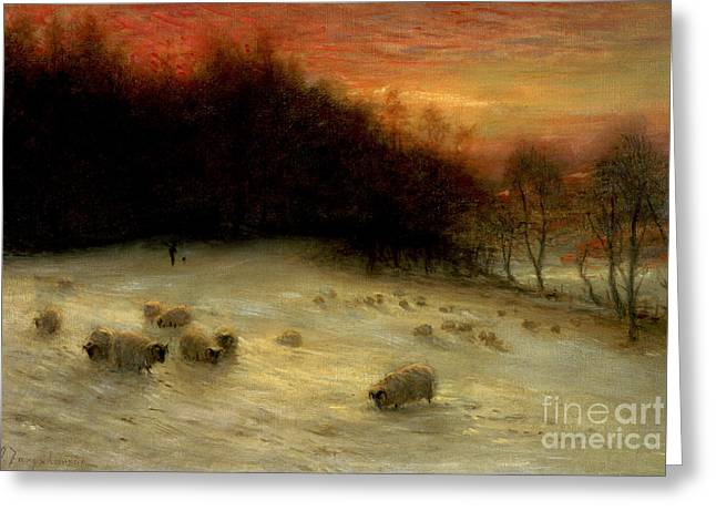 Sunset; Evening; Winter; Snow; Sheep Greeting Cards - Sheep in a Winter Landscape Evening Greeting Card by Joseph Farquharson