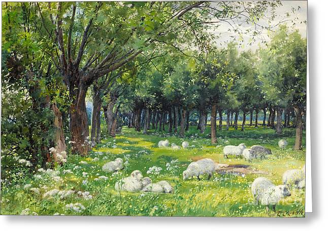 Sheep In An Orchard At Springtime Greeting Card by Louis Fairfax Muckley