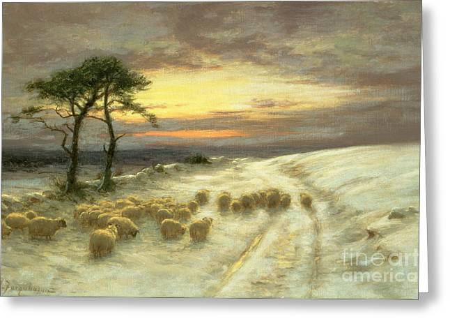 Hill Greeting Cards - Sheep in the Snow Greeting Card by Joseph Farquharson