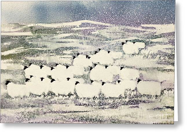 Snowy Field Greeting Cards - Sheep in Winter Greeting Card by Suzi Kennett
