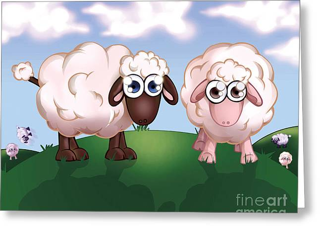 Powder Drawings Greeting Cards - Sheep On Pasture Greeting Card by Hanan Evyasaf