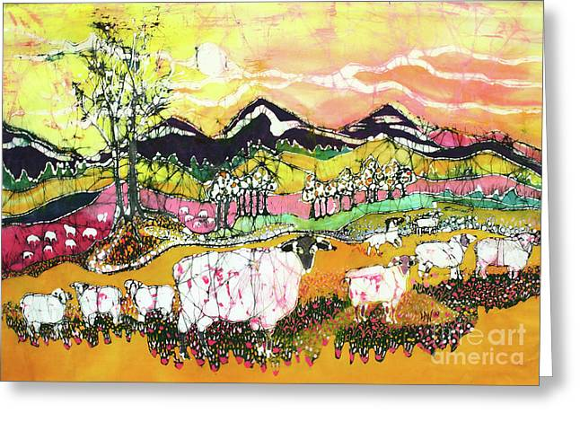 Summer Tapestries - Textiles Greeting Cards - Sheep on Sunny Summer Day Greeting Card by Carol Law Conklin