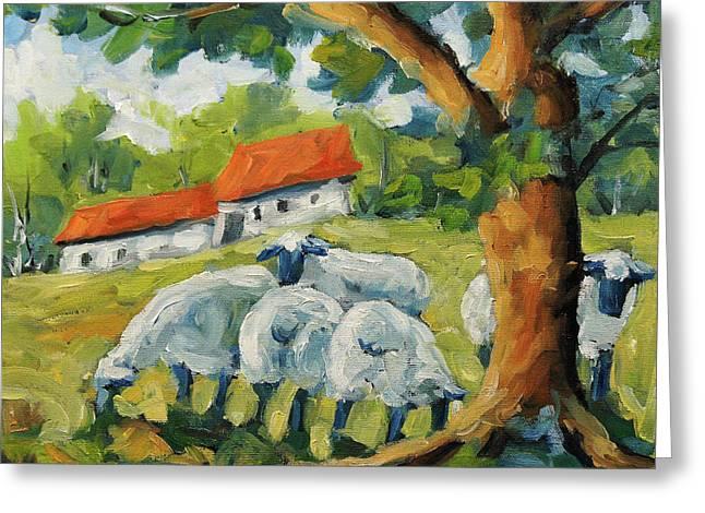 Sheep On The Farm Greeting Card by Richard T Pranke