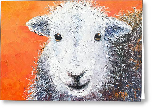Country Cottage Greeting Cards - Sheep painting on orange background Greeting Card by Jan Matson