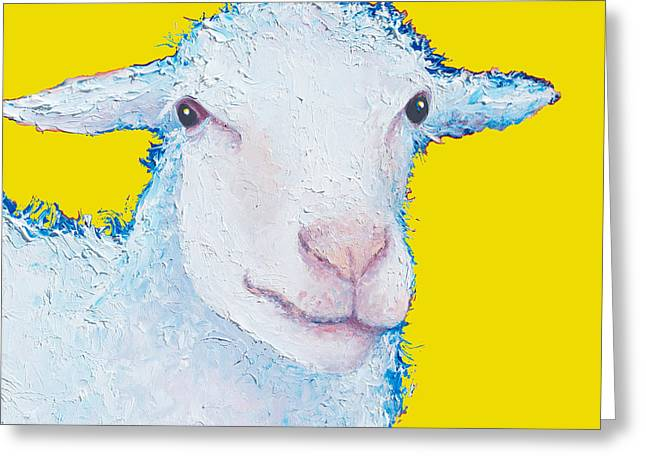 Country Cottage Greeting Cards - Sheep Painting on yellow background Greeting Card by Jan Matson