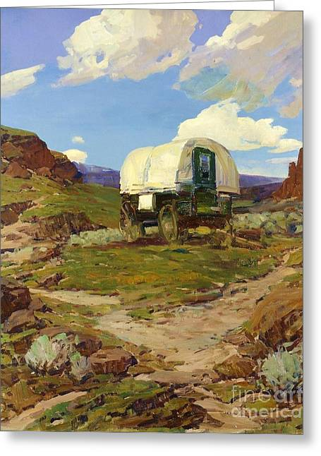 Pd Greeting Cards - Sheep Wagon Greeting Card by Pg Reproductions