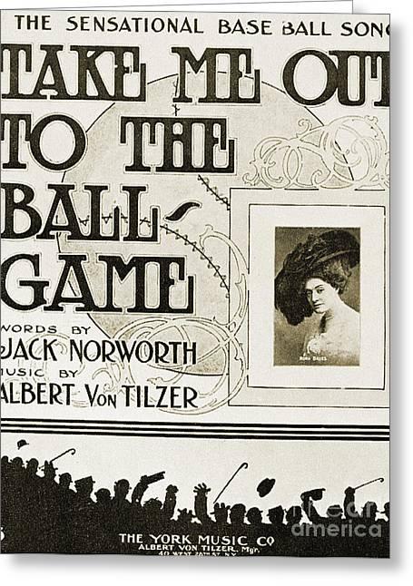 Ballgame Greeting Cards - Sheet Music: Take Me Out Greeting Card by Granger