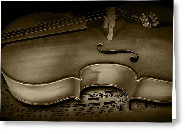 Brown Toned Art Greeting Cards - Sheet Music with Cello Stringed Instrument  in Sepia Greeting Card by Randall Nyhof