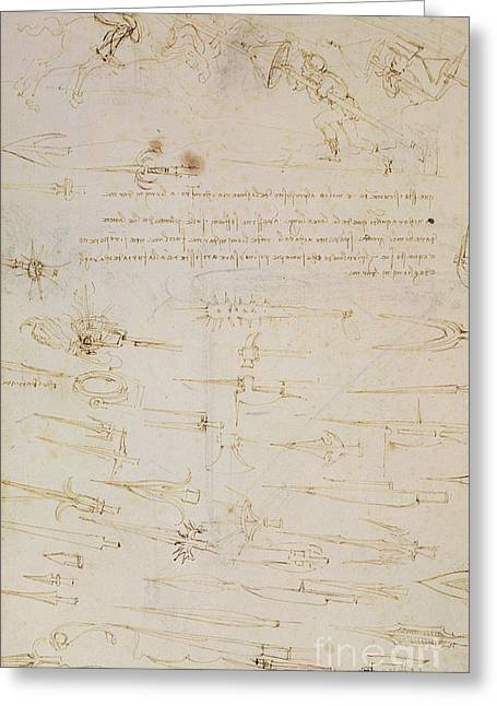 Sheet Of Studies Of Foot Soldiers And Horsemen In Combat, And Halbards Greeting Card by Leonardo Da Vinci