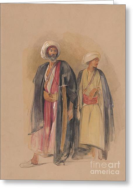 Hussein Greeting Cards - Sheik Hussein of Gebel Tor and His Son Greeting Card by John Frederick Lewis