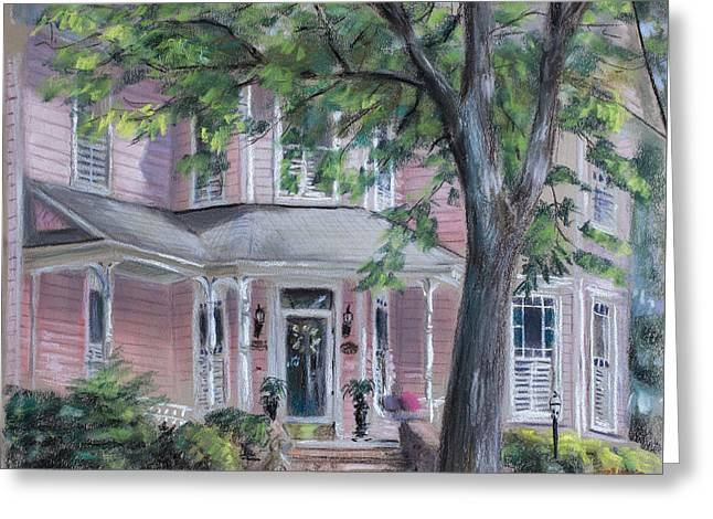 Plein Air Pastels Greeting Cards - Sheilas Pink House Greeting Card by Christopher Reid