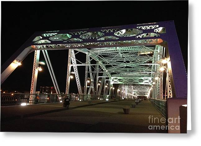 Nashville Tennessee Greeting Cards - Shelby Street Pedestrian Bridge Nashville Tn Greeting Card by Wanda-Lynn Searles