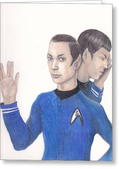 Spock Drawings Greeting Cards - Sheldon Cooper Spock Greeting Card by Karen Stitt