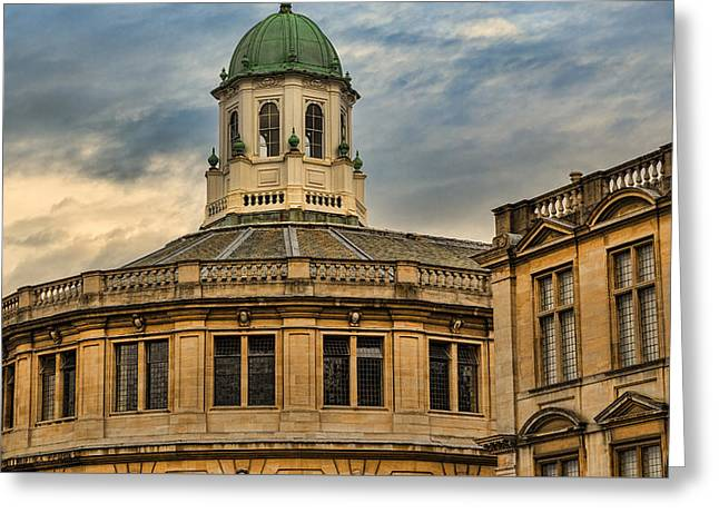 Cupola Greeting Cards - Sheldonian Theatre Evening Greeting Card by Stephen Stookey