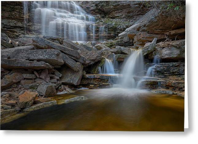 Square Format Greeting Cards - Sheldons Falls Square Greeting Card by Bill Wakeley