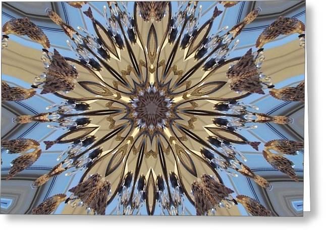 Geometrical Art Greeting Cards - Shell Lamp Kaleidoscope Greeting Card by D Hackett