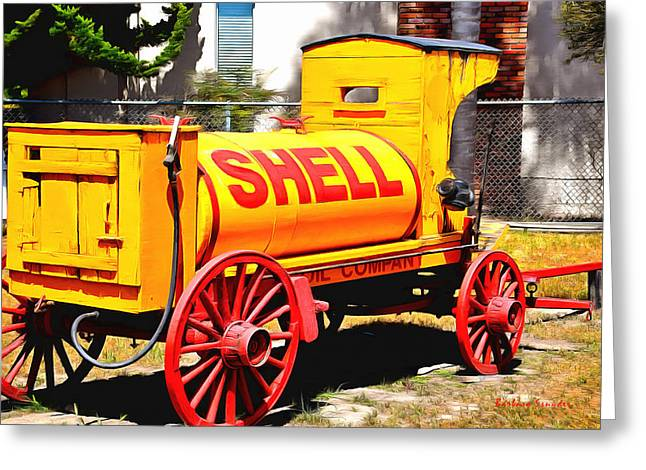 Oil Pumper Paintings Greeting Cards - Shell Oil Company Greeting Card by Barbara Snyder