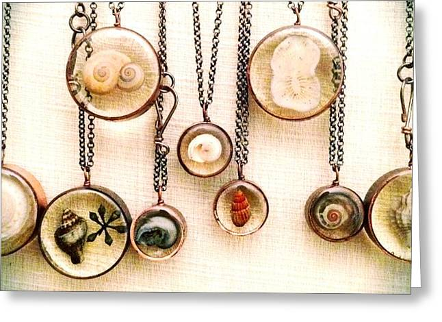 Summer Jewelry Greeting Cards - Shells in Resin Greeting Card by Evelyn Taylor Designs