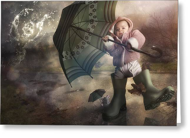 Rubber Boot Greeting Cards - Shelter From The Storm Greeting Card by Christophe Kiciak