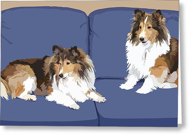 Sheepdog Greeting Cards - Sheltie Chic Greeting Card by Kris Hackleman