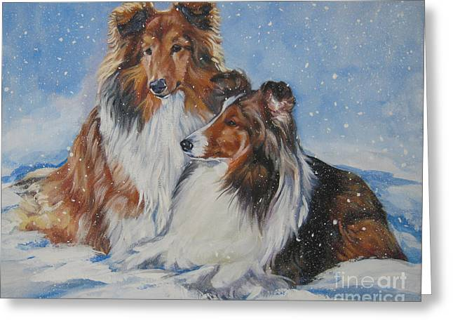 Christmas Dogs Greeting Cards - Sheltie pair Greeting Card by Lee Ann Shepard