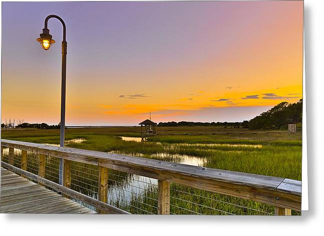 Shem Creek Pier Boardwalk - Mt. Pleasant Sc Greeting Card by Donnie Whitaker