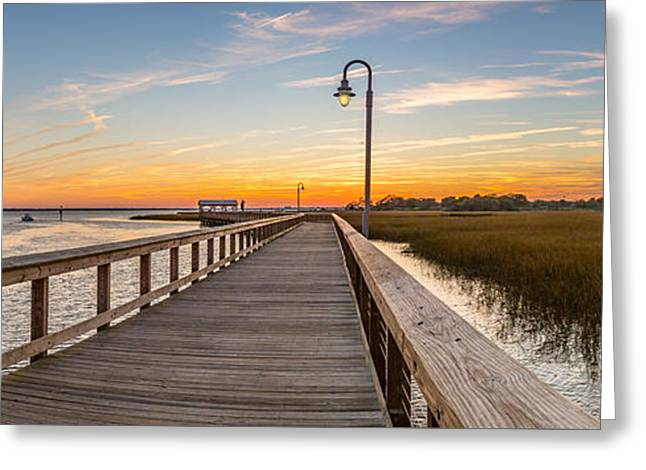 Shem Creek Pier Panoramic Greeting Card by Donnie Whitaker