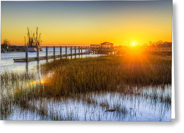 Ocean. Reflection Greeting Cards - Shem Creek Sunset - Charleston SC  Greeting Card by Drew Castelhano