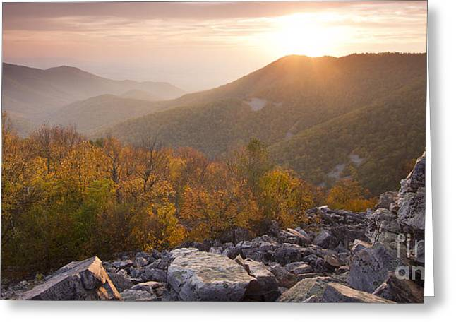Shenandoah National Park Greeting Cards - Shenandoah National Park Sunset Black Rock Greeting Card by Dustin K Ryan