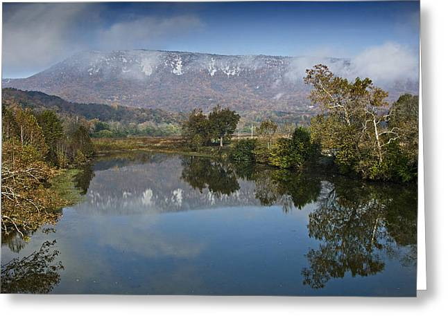 Shenandoah Greeting Cards - Shenandoah River South Fork - snow on the mountains - Virginia Greeting Card by Brendan Reals