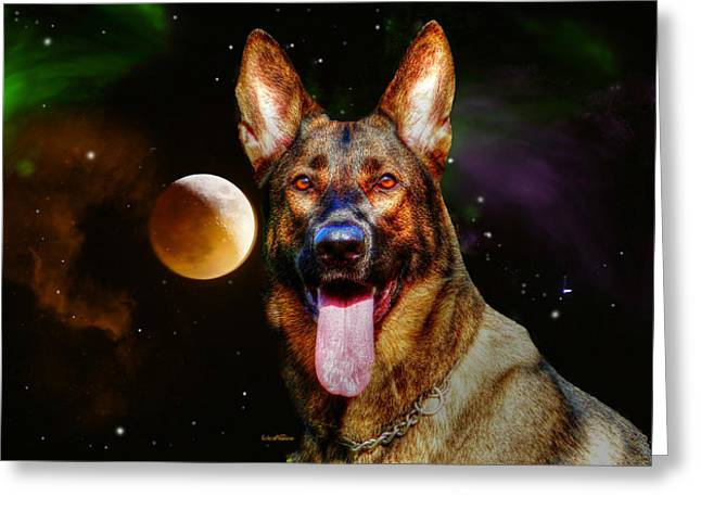 Guard Dog Greeting Cards - Shepards Moon Greeting Card by EricaMaxine  Price