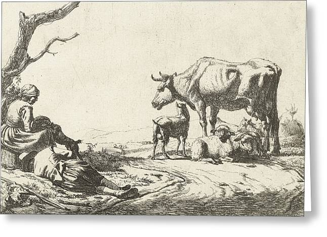 Shepherd And Shepherdess With Cattle Greeting Card by Adriaen van de Velde