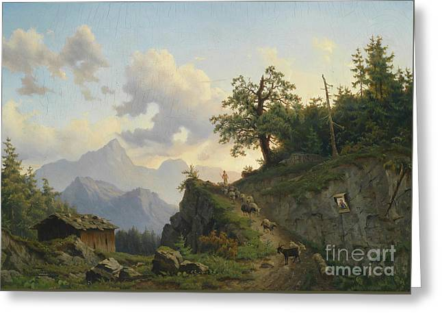 Josef Greeting Cards - Shepherd Returning Home with his Flock Greeting Card by Josef Thoma