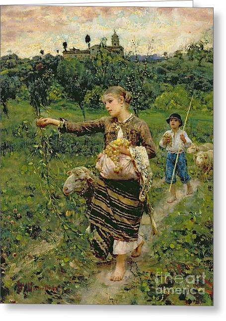 Rural Landscapes Paintings Greeting Cards - Shepherdess carrying a bunch of grapes Greeting Card by Francesco Paolo Michetti