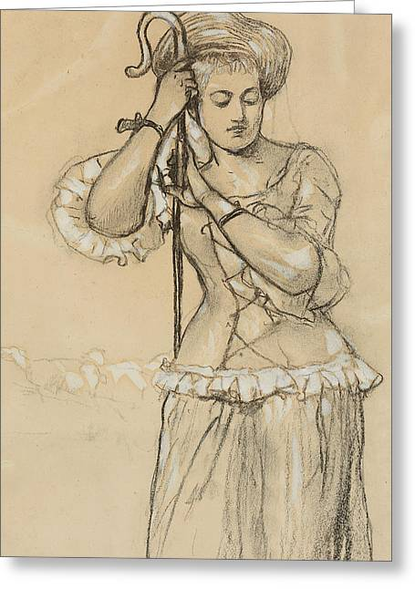 Herder Greeting Cards - Shepherdess Greeting Card by Winslow Homer