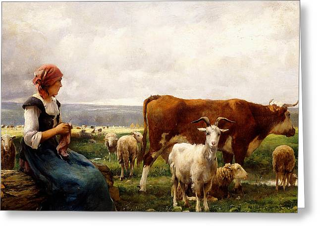 Sit-ins Greeting Cards - Shepherdess with Cows and Goats Greeting Card by Julien Dupre