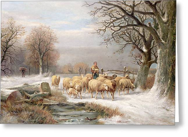 White Sheep Greeting Cards - Shepherdess with her Flock in a Winter Landscape Greeting Card by Alexis de Leeuw
